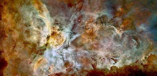 NGC 3372, the Carina nebula. Credit: NASA/JPL and the Hubble Space Telescope team.