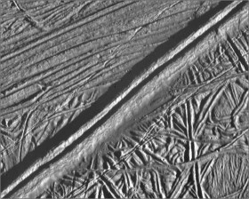 A mosaic of Europa from two pictures taken by the Galileo spacecraft on February 20, 1997. Credit: NASA/JPL.