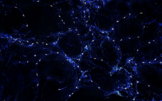 Original caption: This artist's impression shows schematically the mysterious alignments between the spin axes of quasars and the large-scale structures that they inhabit that observations with ESO's Very Large Telescope have revealed. These alignments are over billions of light-years and are the largest known in the Universe. The large-scale structure is shown in blue and quasars are marked in white with the rotation axes of their black holes indicated with a line. This picture is for illustration only and does not depict the real distribution of galaxies and quasars. Credit: ESO/M. Kornmesser