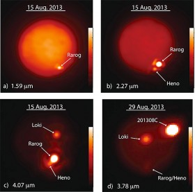 Io at different infrared wavelengths. The bar on the right of each image indicates the intensity of the infrared emission. Credit: Imke de Pater and Katherine de Kleer, UC Berkeley,