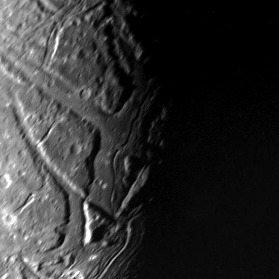 The surface of Ariel from Voyager 2. Credit: NASA/JPL/MSSS