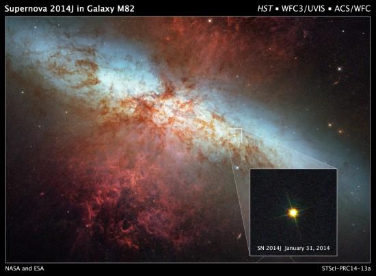 Supernova SN 2014J. Credit: NASA/ESA/A. Goobar (Stockholm University)/Hubble Heritage Team (STScI/AURA)
