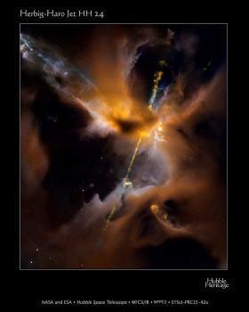Herbig Haro star HH 24. Credit: NASA, ESA, the Hubble Heritage (STScI/AURA)/Hubble-Europe (ESA) Collaboration, D. Padgett (GSFC), T. Megeath (University of Toledo), and B. Reipurth (University of Hawaii)