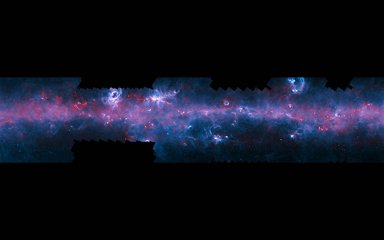 This image of the Milky Way has been released to mark the completion of the APEX Telescope Large Area Survey of the Galaxy (ATLASGAL). The APEX telescope in Chile has mapped the full area of the Galactic Plane visible from the southern hemisphere for the first time at submillimetre wavelengths — between infrared light and radio waves — and in finer detail than recent space-based surveys. The APEX data, at a wavelength of 0.87 millimetres, shows up in red and the background blue image was imaged at shorter infrared wavelengths by the NASA Spitzer Space Telescope as part of the GLIMPSE survey.The fainter extended red structures come from complementary observations made by ESA'sPlanck satellite. Note that the far right section of this long and thin image does not include Planck imaging. To fully appreciate this image click on it and zoom and scroll sideways.