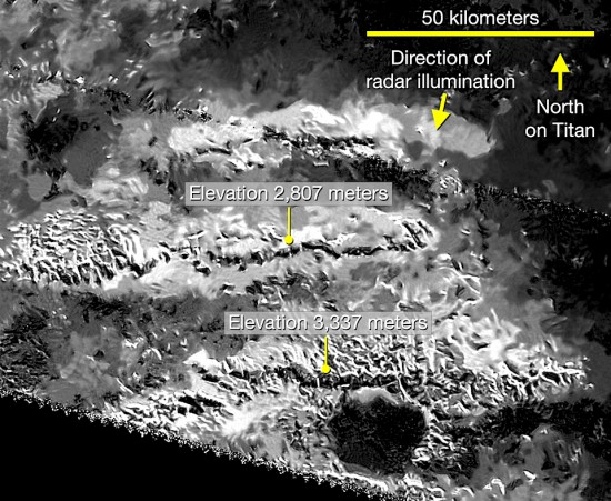 The Mithrim Montes region showing Titan Mons at 3337 meters high. Credit: NASA/JPL-Caltech/ASI