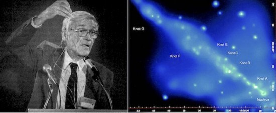 (L) Bostick speaking at a conference of the Schiller Institute (November 1984). © Stuart Lewis. (R) Adaptively smoothed, co-added image in the 0.4-2.5 keV bandpass of the Centaurus A jet. North is up and east is to the left. The unusual doughnut shape of the nucleus to the southwest is caused by pileup in the ACIS detector. Each of the knots previously detected by Einstein and ROSAT has been clearly resolved into several distinct subknots and enhancements embedded within diffuse extended emissions. Courtesy Kraft et al. (2002). [16: 59 Fig. 4]