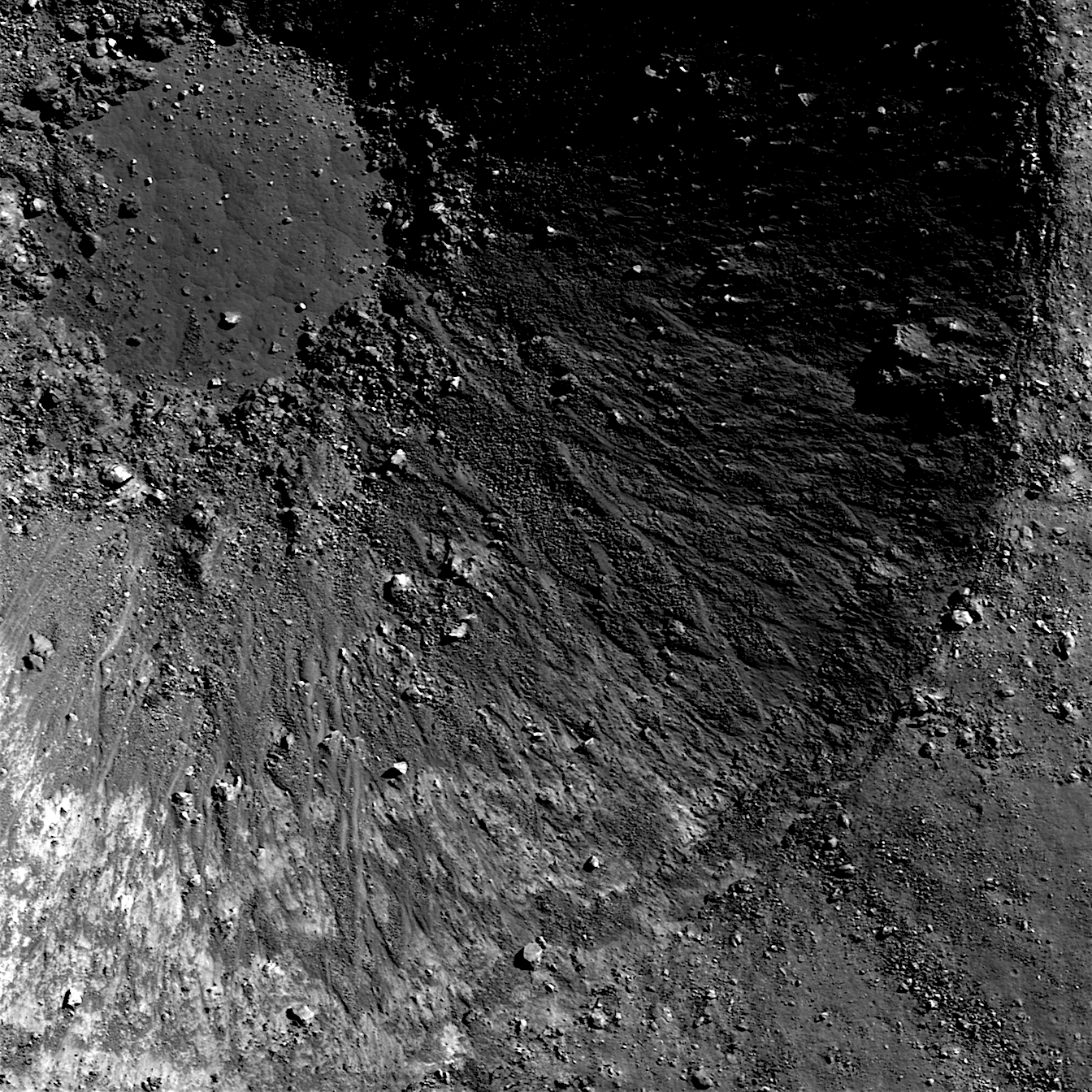 The walls and floor of an unnamed lunar crater. Credit: NASA/Goddard/Arizona State University